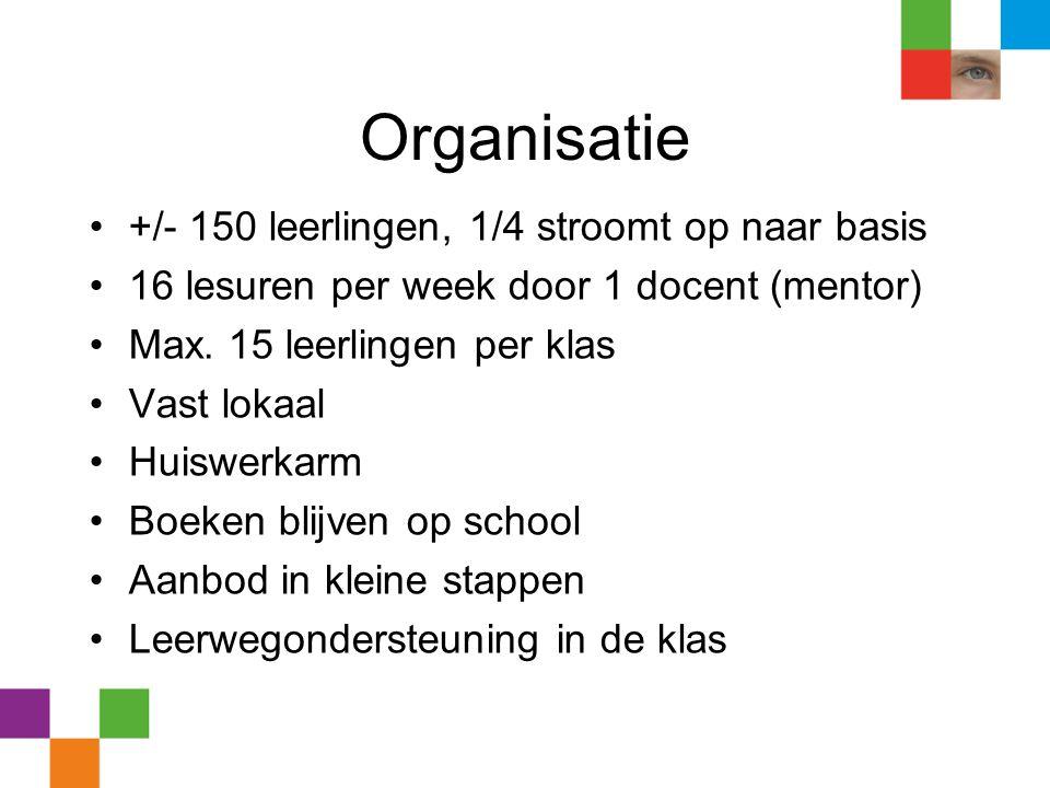 Organisatie +/- 150 leerlingen, 1/4 stroomt op naar basis