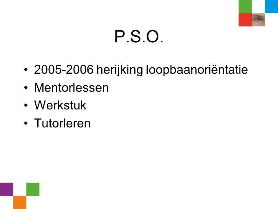 P.S.O. 2005-2006 herijking loopbaanoriëntatie Mentorlessen Werkstuk