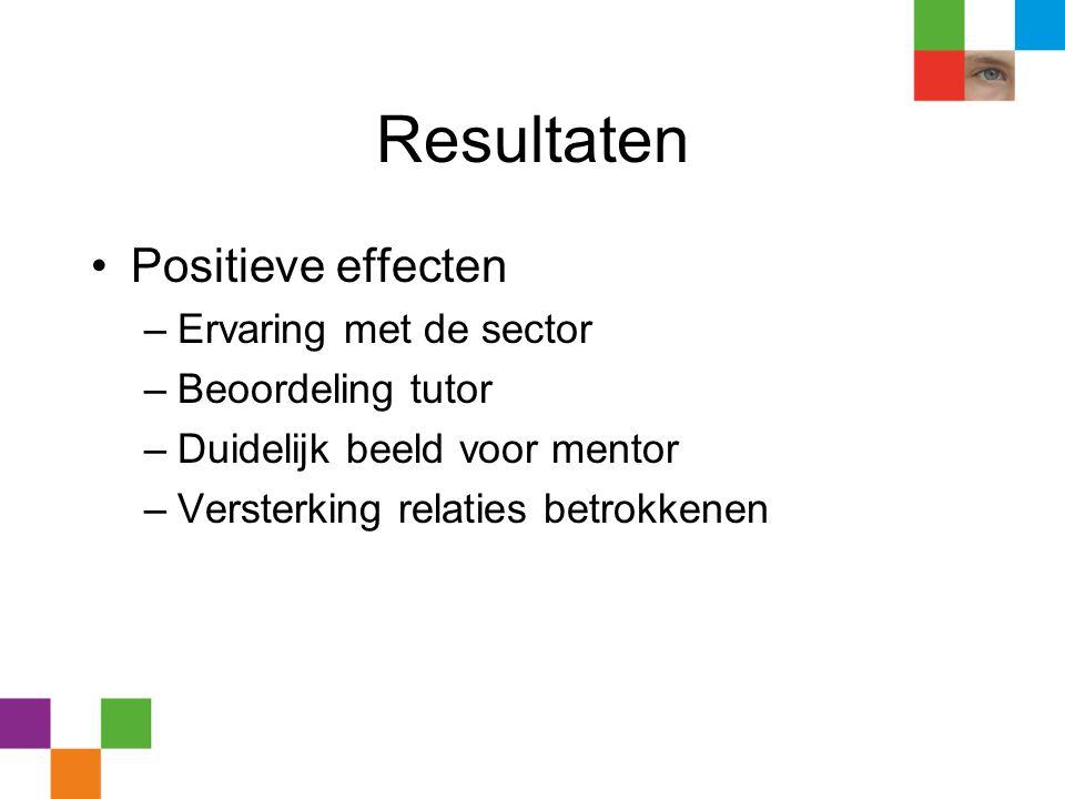 Resultaten Positieve effecten Ervaring met de sector Beoordeling tutor
