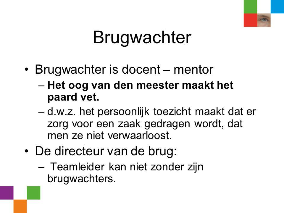 Brugwachter Brugwachter is docent – mentor De directeur van de brug: