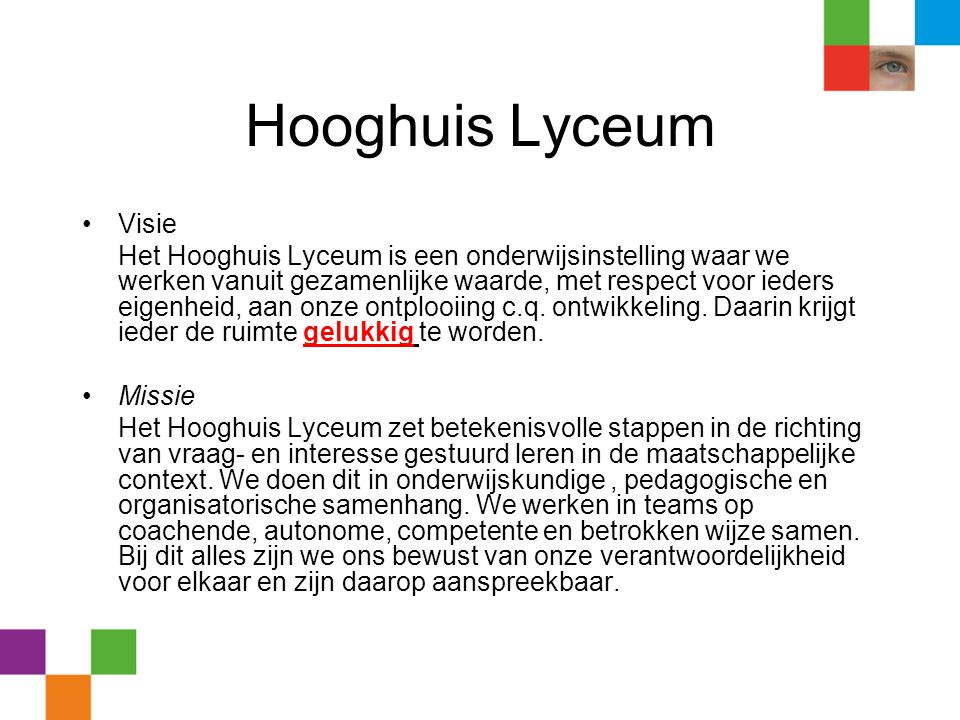 Hooghuis Lyceum Visie.
