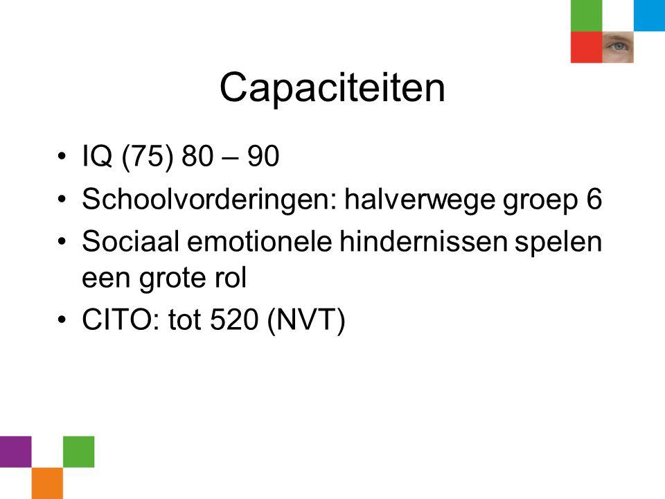 Capaciteiten IQ (75) 80 – 90 Schoolvorderingen: halverwege groep 6