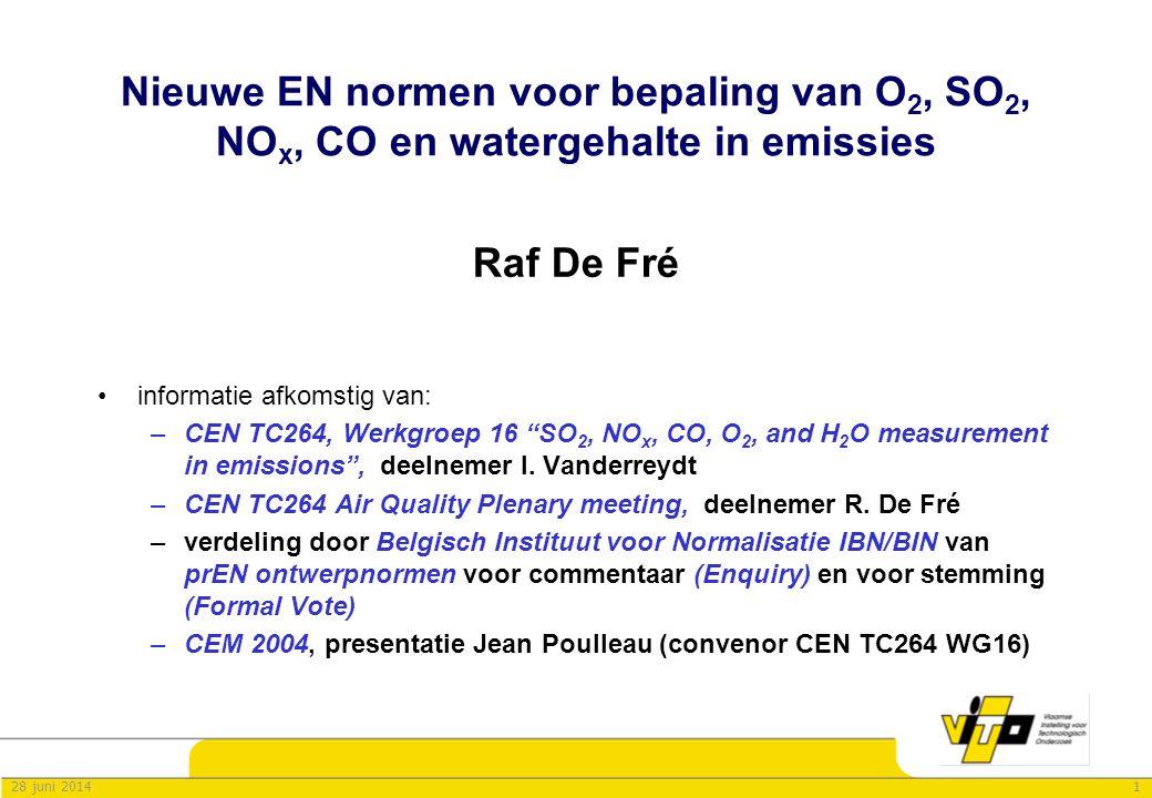 Nieuwe EN normen voor bepaling van O2, SO2, NOx, CO en watergehalte in emissies