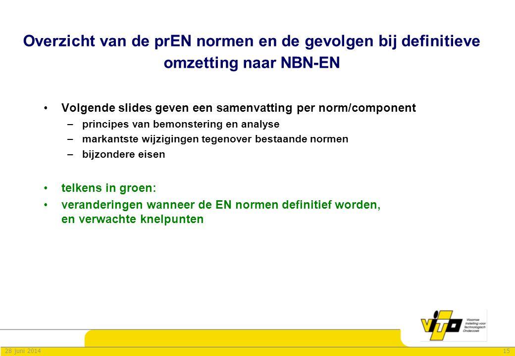 Overzicht van de prEN normen en de gevolgen bij definitieve omzetting naar NBN-EN