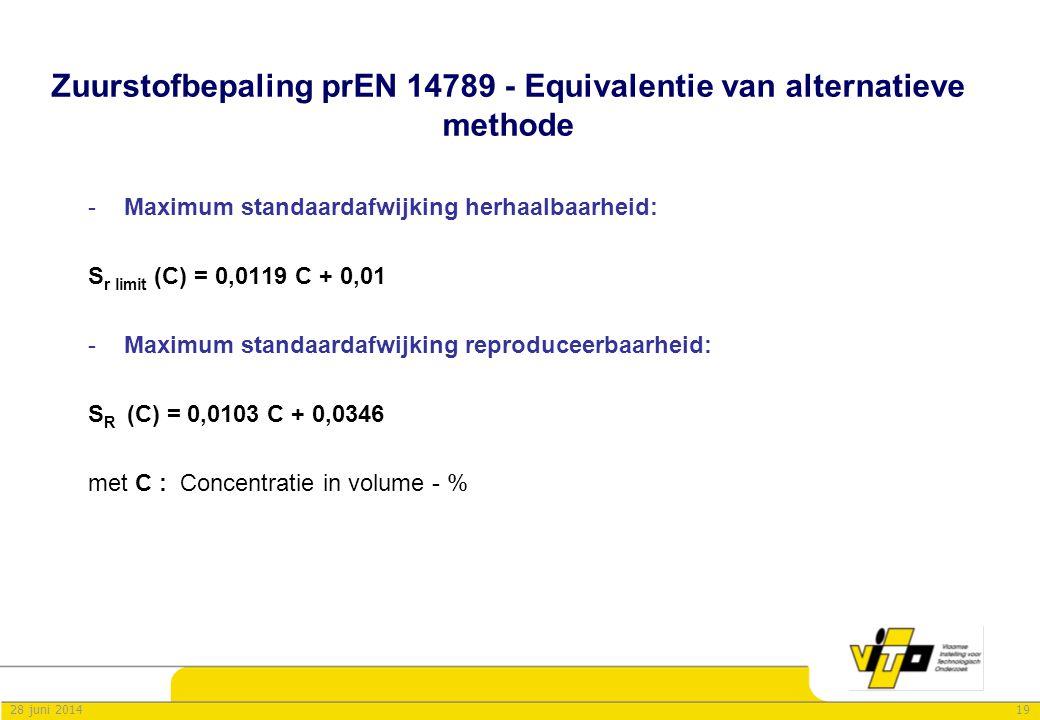 Zuurstofbepaling prEN 14789 - Equivalentie van alternatieve methode