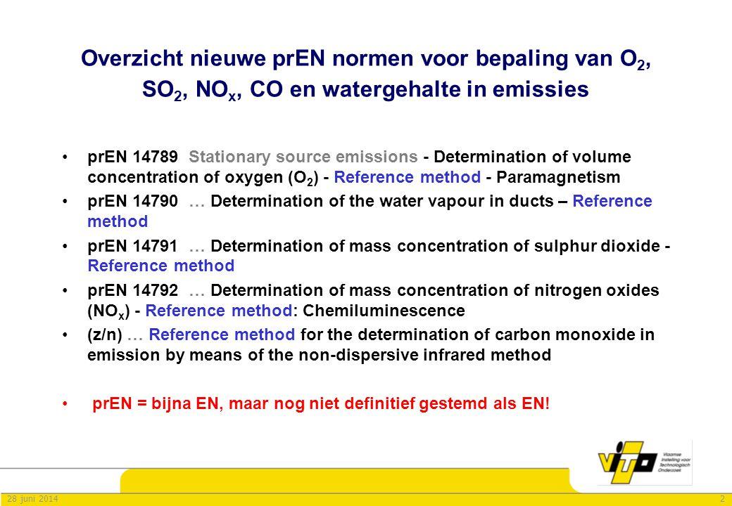 Overzicht nieuwe prEN normen voor bepaling van O2, SO2, NOx, CO en watergehalte in emissies