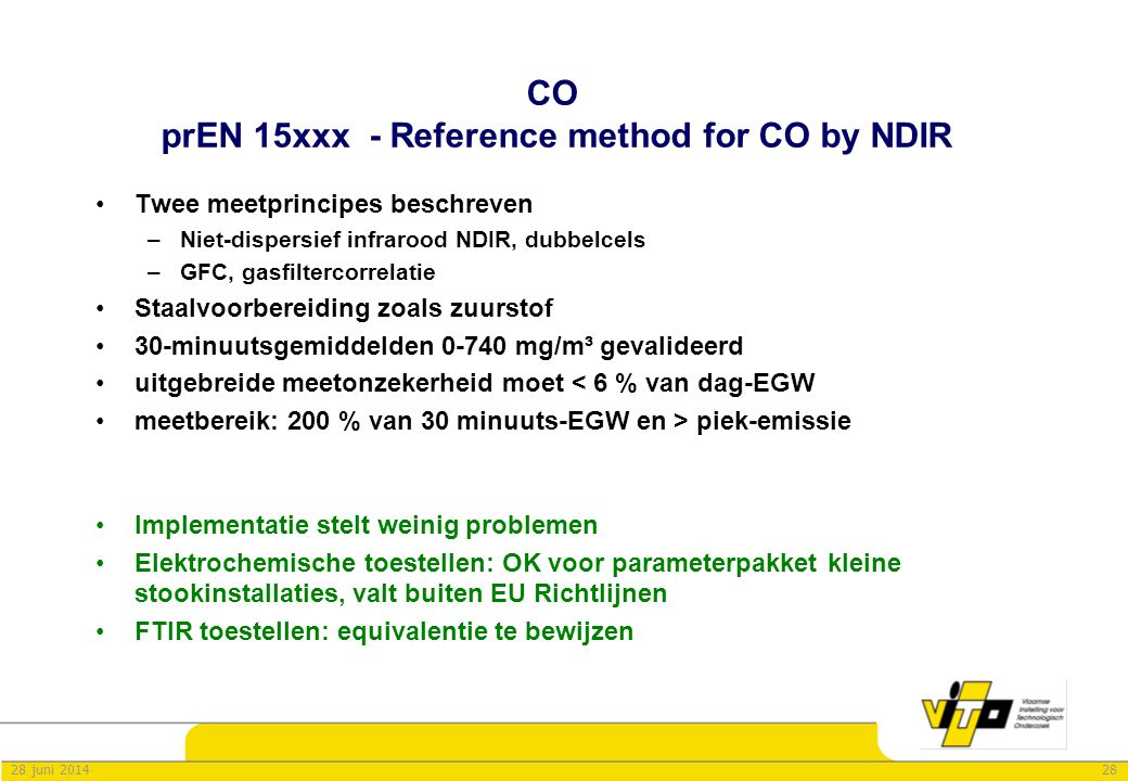 CO prEN 15xxx - Reference method for CO by NDIR