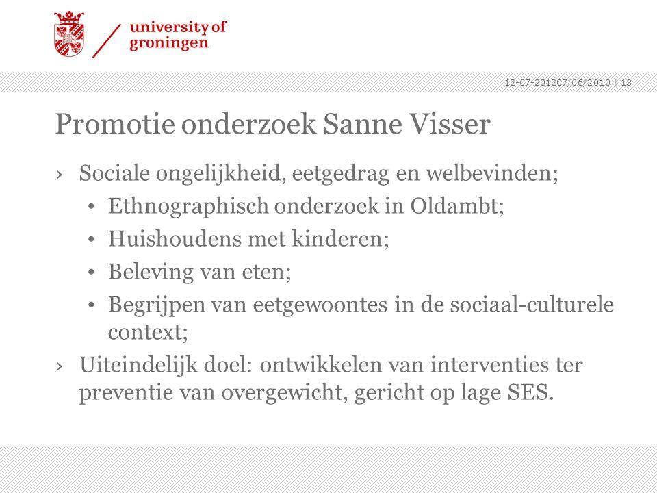 Promotie onderzoek Sanne Visser