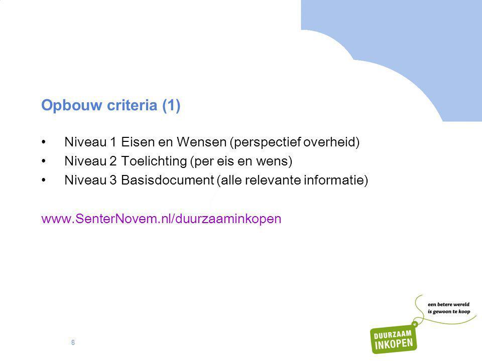 Opbouw criteria (1) Niveau 1 Eisen en Wensen (perspectief overheid)