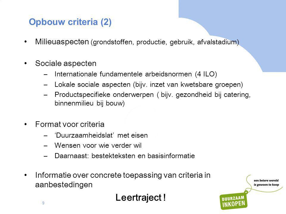 Leertraject ! Opbouw criteria (2)