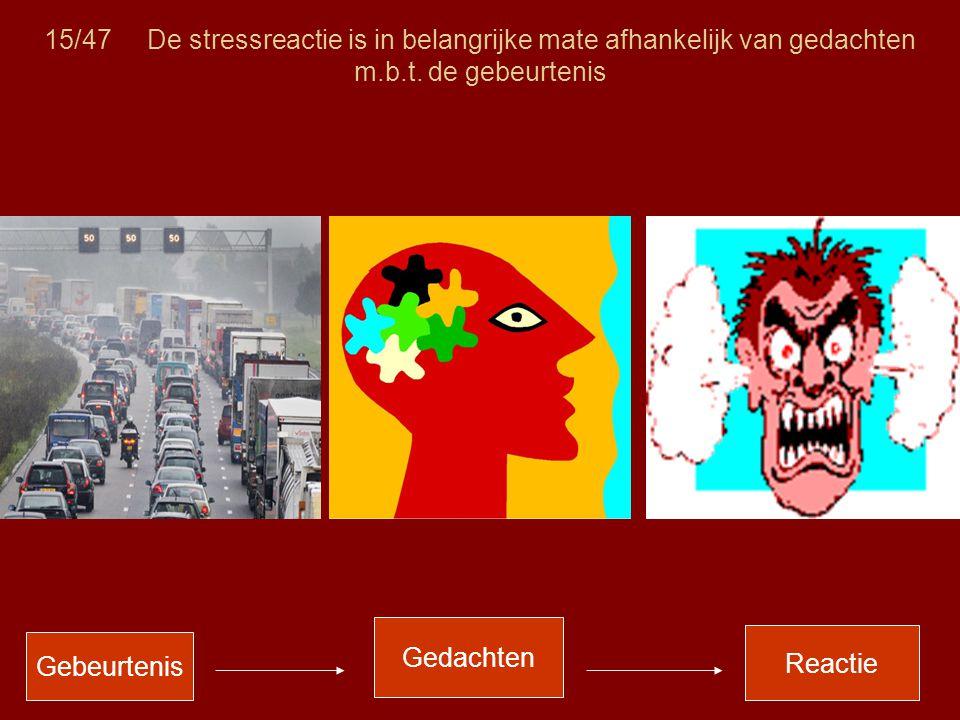 15/47 De stressreactie is in belangrijke mate afhankelijk van gedachten m.b.t. de gebeurtenis