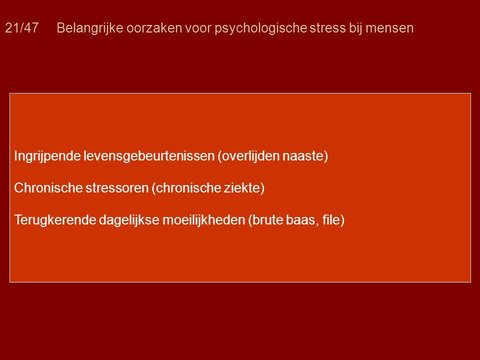21/47 Belangrijke oorzaken voor psychologische stress bij mensen