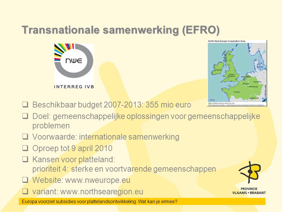 Transnationale samenwerking (EFRO)
