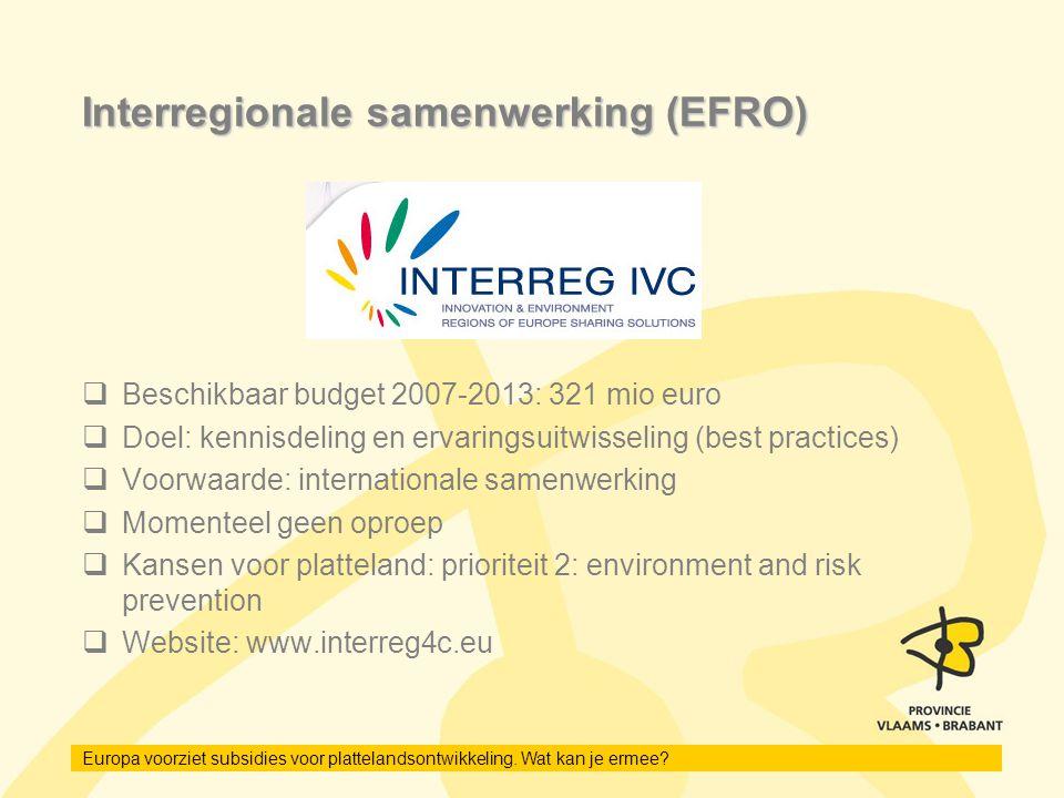 Interregionale samenwerking (EFRO)