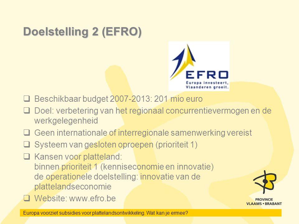 Doelstelling 2 (EFRO) Beschikbaar budget 2007-2013: 201 mio euro