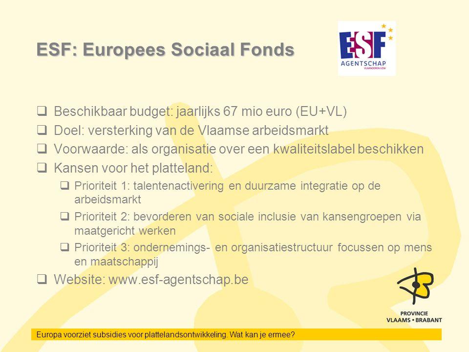 ESF: Europees Sociaal Fonds