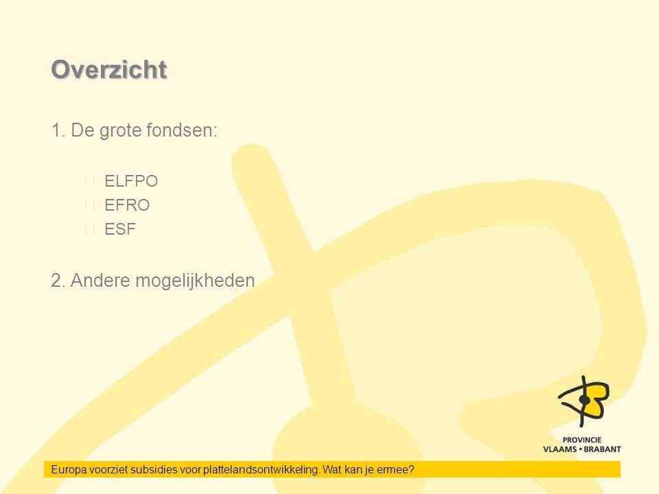 Overzicht 1. De grote fondsen: ELFPO EFRO ESF 2. Andere mogelijkheden