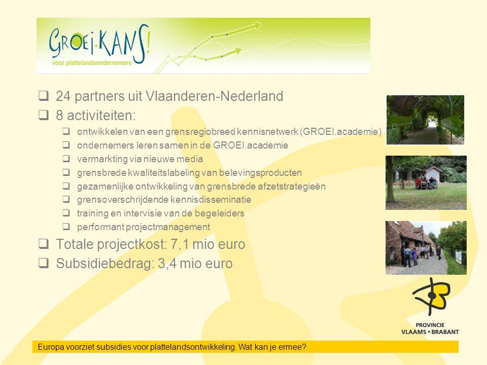 24 partners uit Vlaanderen-Nederland 8 activiteiten: