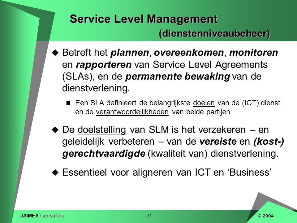 Service Level Management (dienstenniveaubeheer)