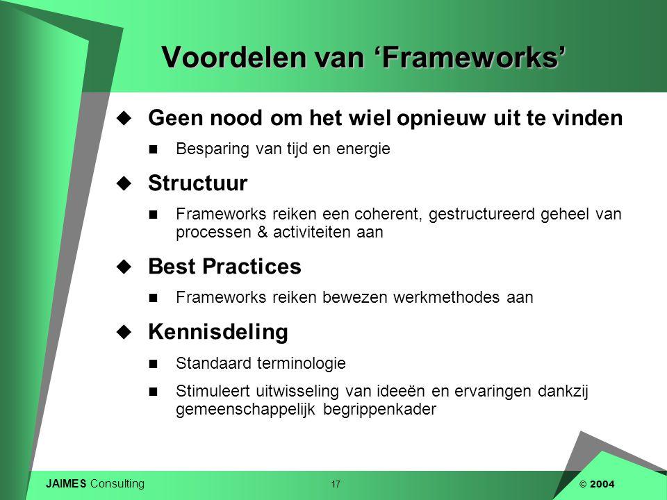 Voordelen van 'Frameworks'