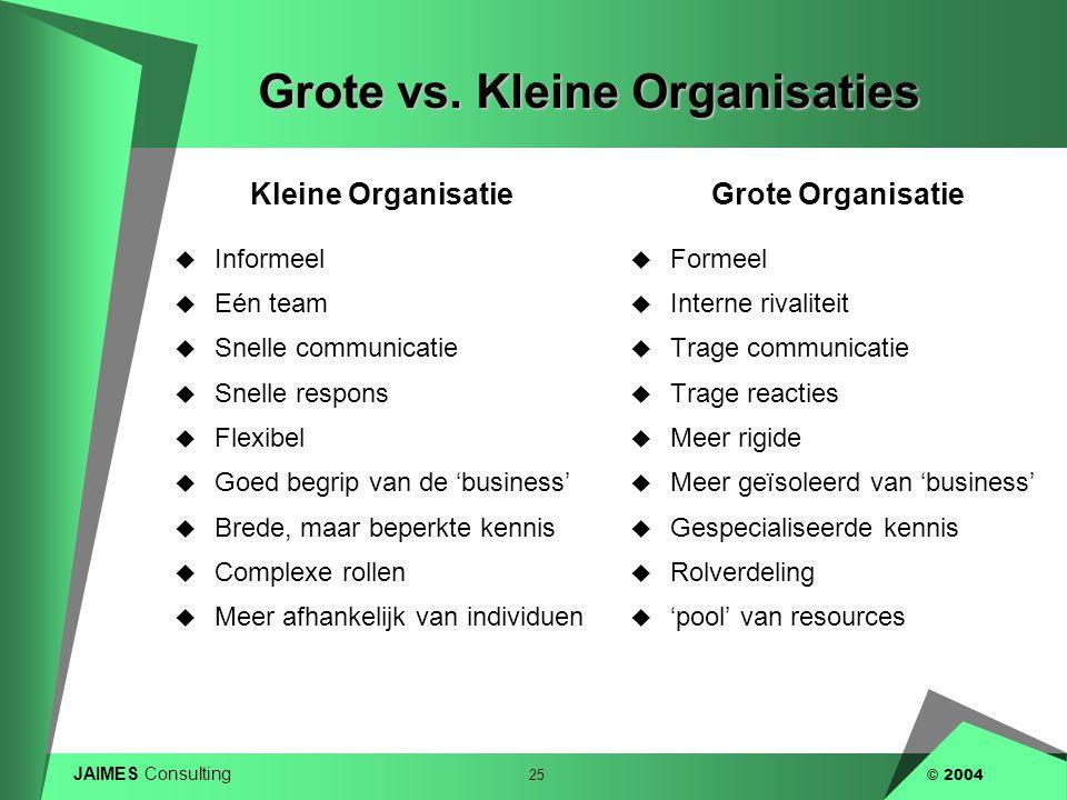 Grote vs. Kleine Organisaties