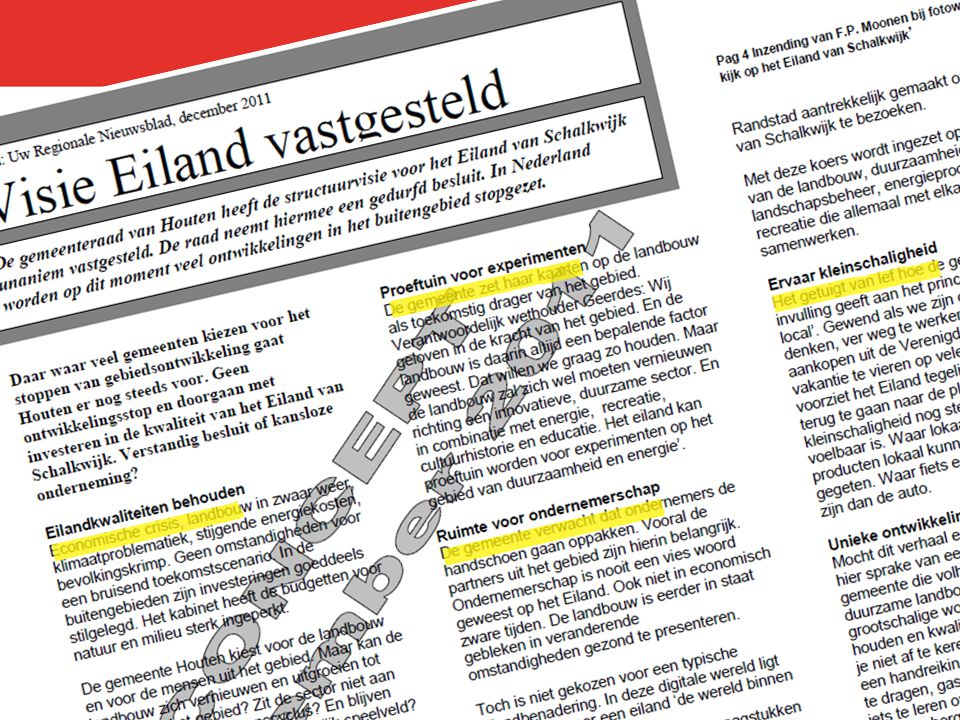 Het Eiland kan proeftuin worden voor experimenten op het gebied van duurzaamheid .