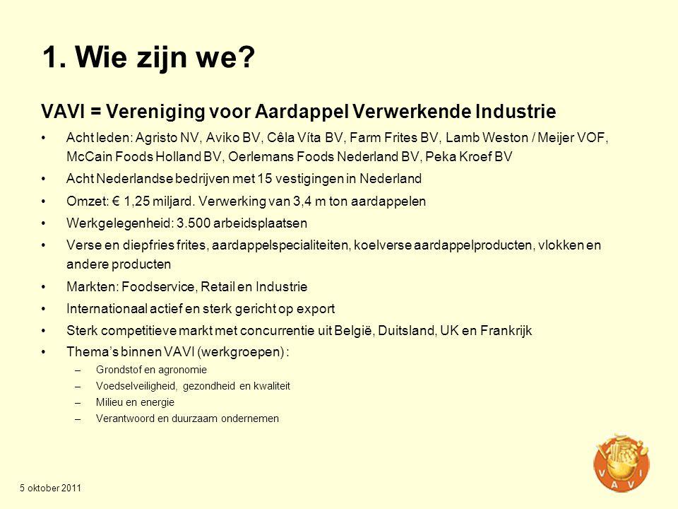1. Wie zijn we VAVI = Vereniging voor Aardappel Verwerkende Industrie