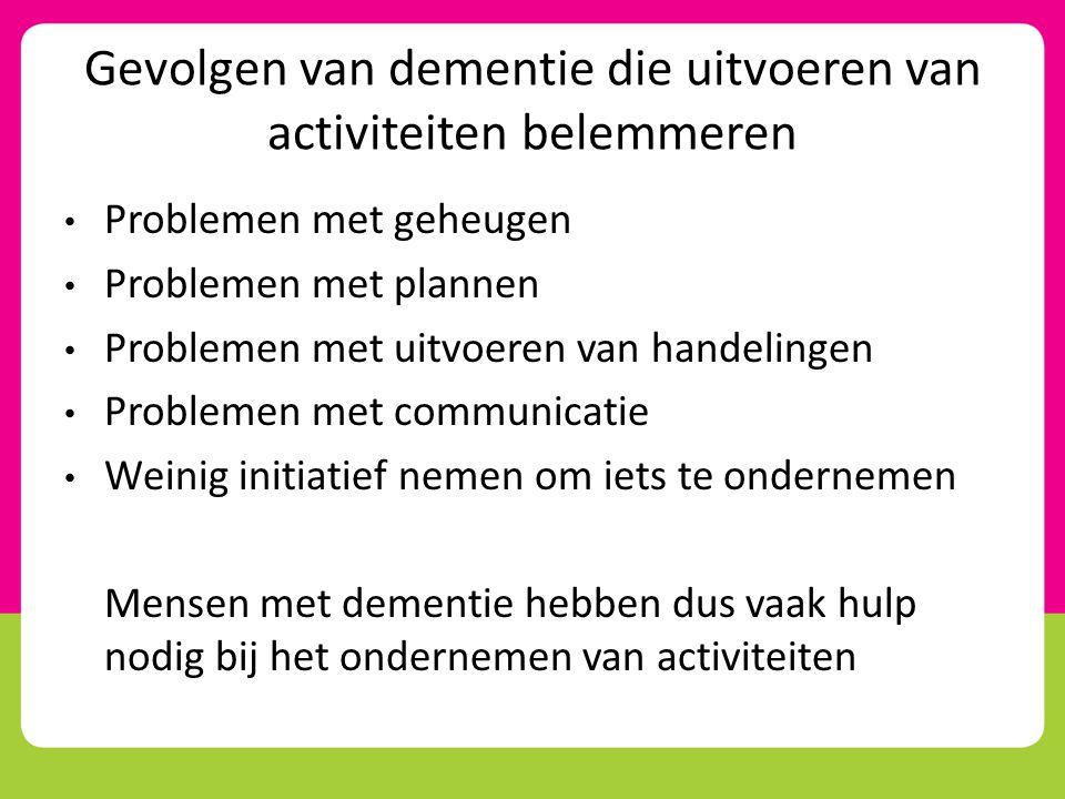 Gevolgen van dementie die uitvoeren van activiteiten belemmeren