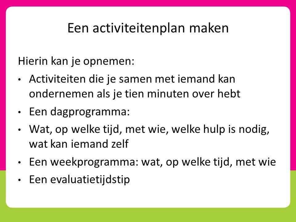 Een activiteitenplan maken