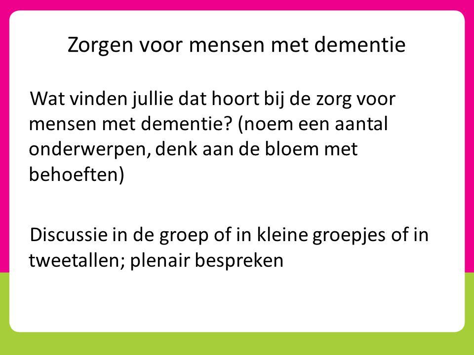 Zorgen voor mensen met dementie