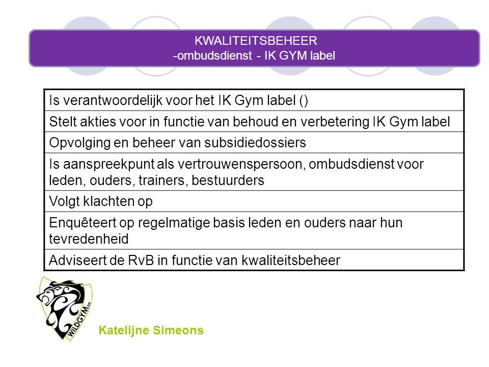 KWALITEITSBEHEER -ombudsdienst - IK GYM label