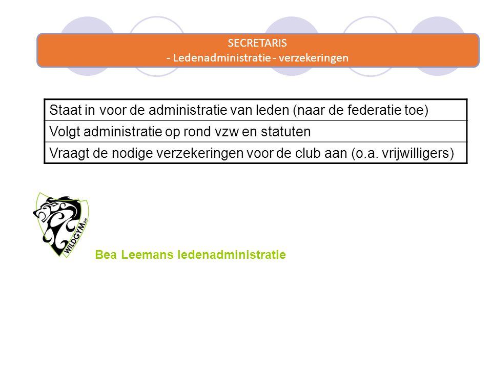 SECRETARIS - Ledenadministratie - verzekeringen