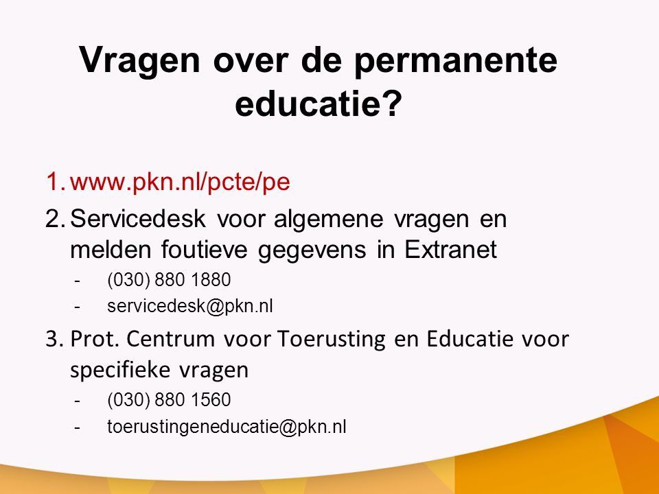 Vragen over de permanente educatie