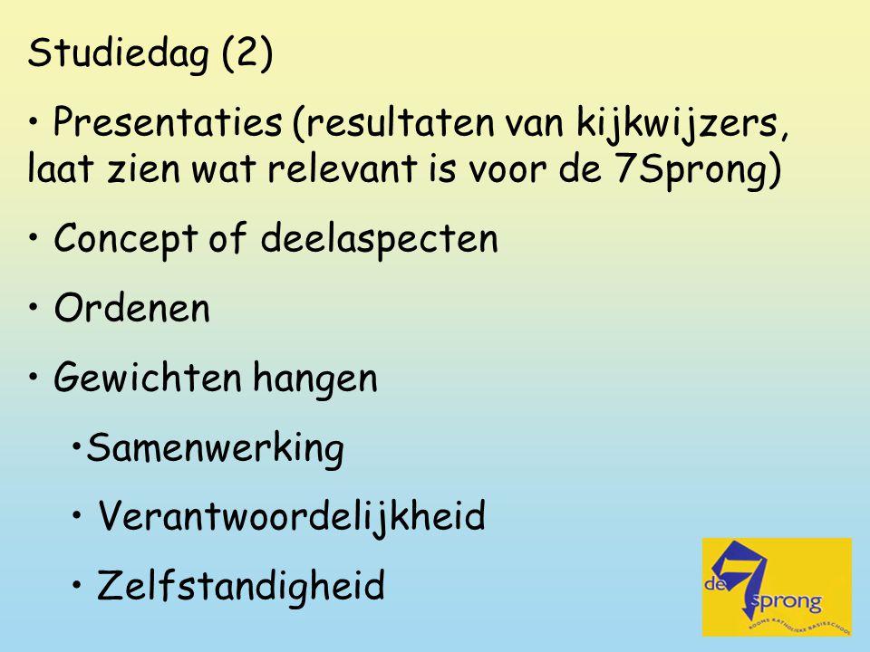 Studiedag (2) Presentaties (resultaten van kijkwijzers, laat zien wat relevant is voor de 7Sprong) Concept of deelaspecten.