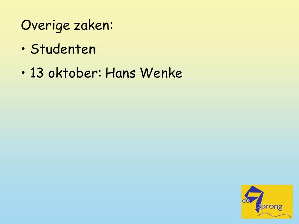 Overige zaken: Studenten 13 oktober: Hans Wenke
