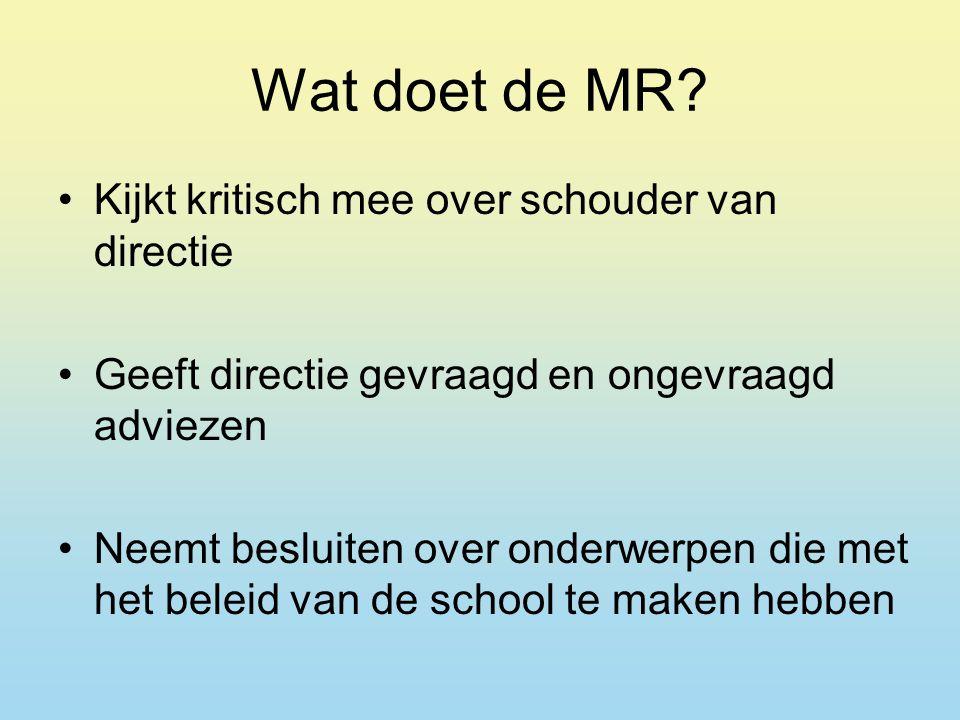 Wat doet de MR Kijkt kritisch mee over schouder van directie