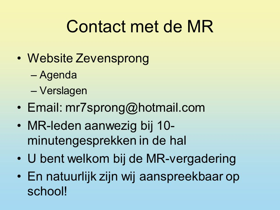 Contact met de MR Website Zevensprong
