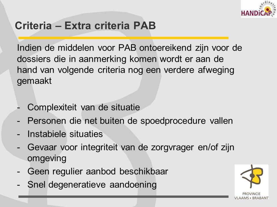 Criteria – Extra criteria PAB