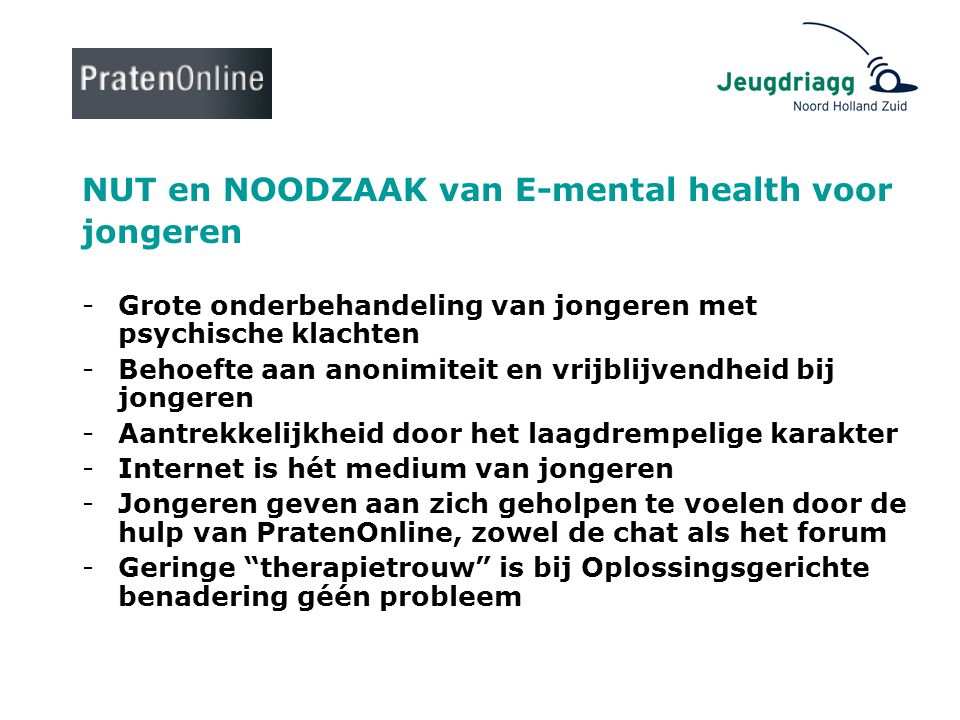 NUT en NOODZAAK van E-mental health voor jongeren
