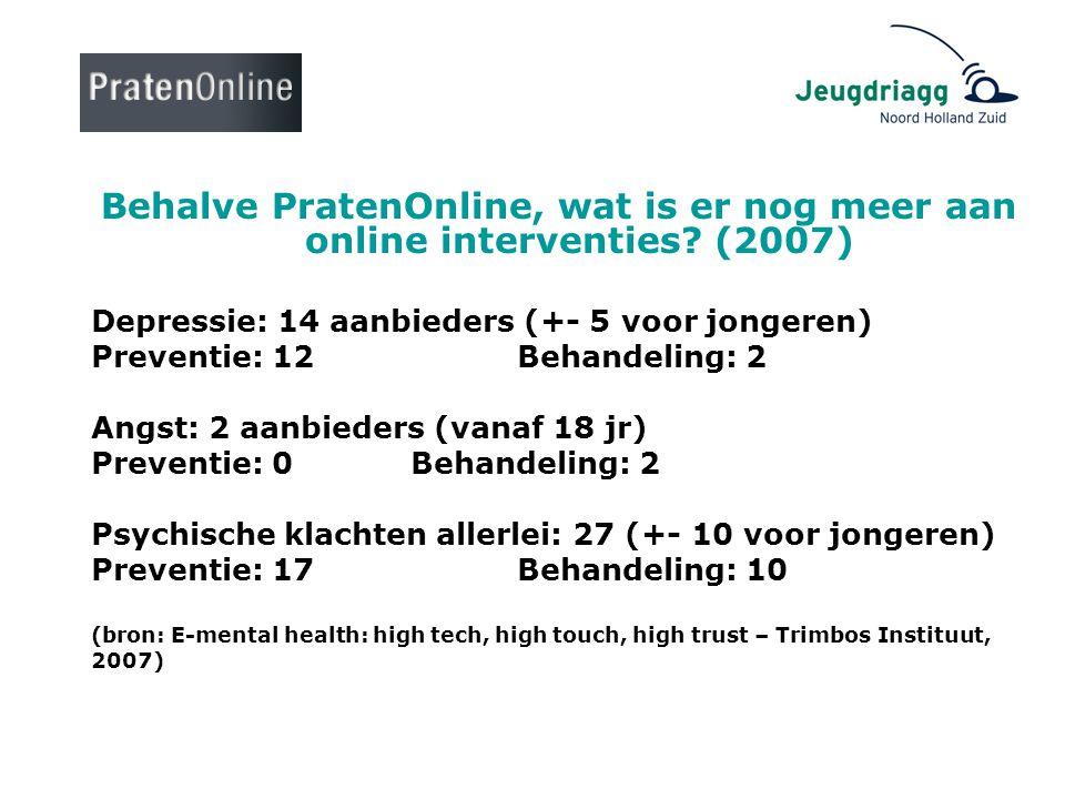 Behalve PratenOnline, wat is er nog meer aan online interventies