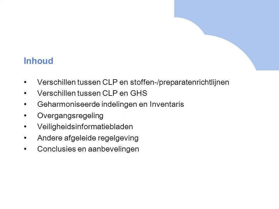 Inhoud Verschillen tussen CLP en stoffen-/preparatenrichtlijnen