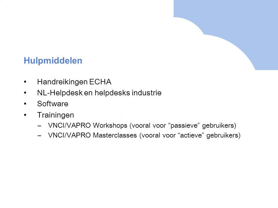 Hulpmiddelen Handreikingen ECHA NL-Helpdesk en helpdesks industrie
