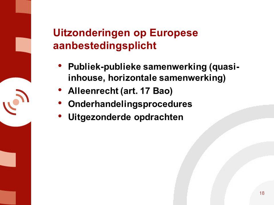 Uitzonderingen op Europese aanbestedingsplicht