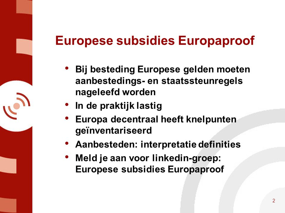 Europese subsidies Europaproof