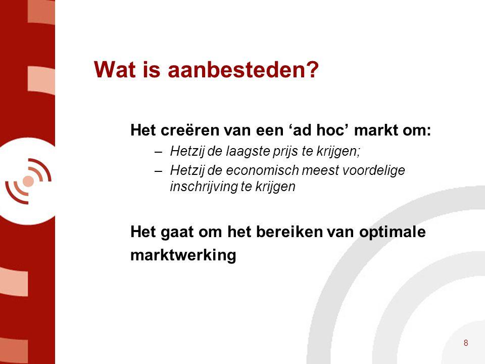 Wat is aanbesteden Het creëren van een 'ad hoc' markt om: