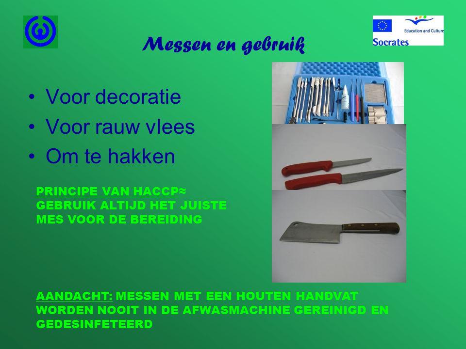 Messen en gebruik Voor decoratie Voor rauw vlees Om te hakken