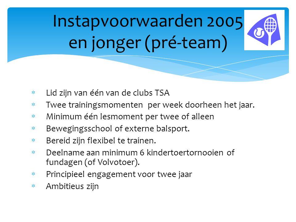 Instapvoorwaarden 2005 en jonger (pré-team)