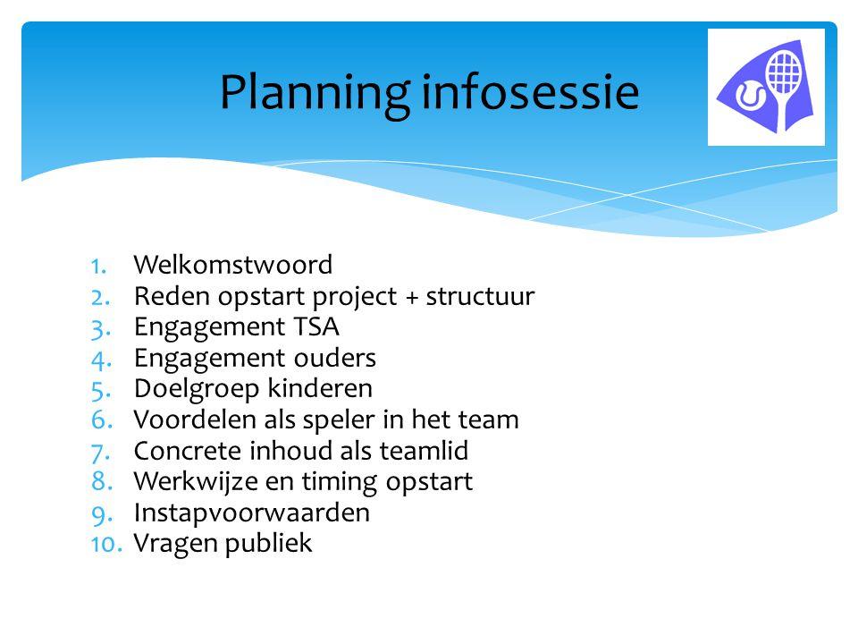 Planning infosessie Welkomstwoord Reden opstart project + structuur