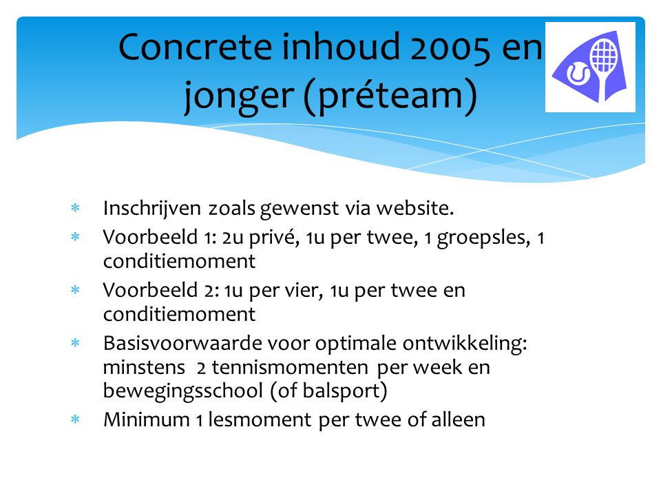 Concrete inhoud 2005 en jonger (préteam)