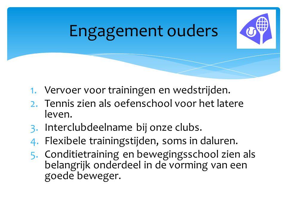 Engagement ouders Vervoer voor trainingen en wedstrijden.